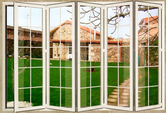Puertas de aluminio plegables ventanas de pvc vizcaya y for Precio de puertas plegables